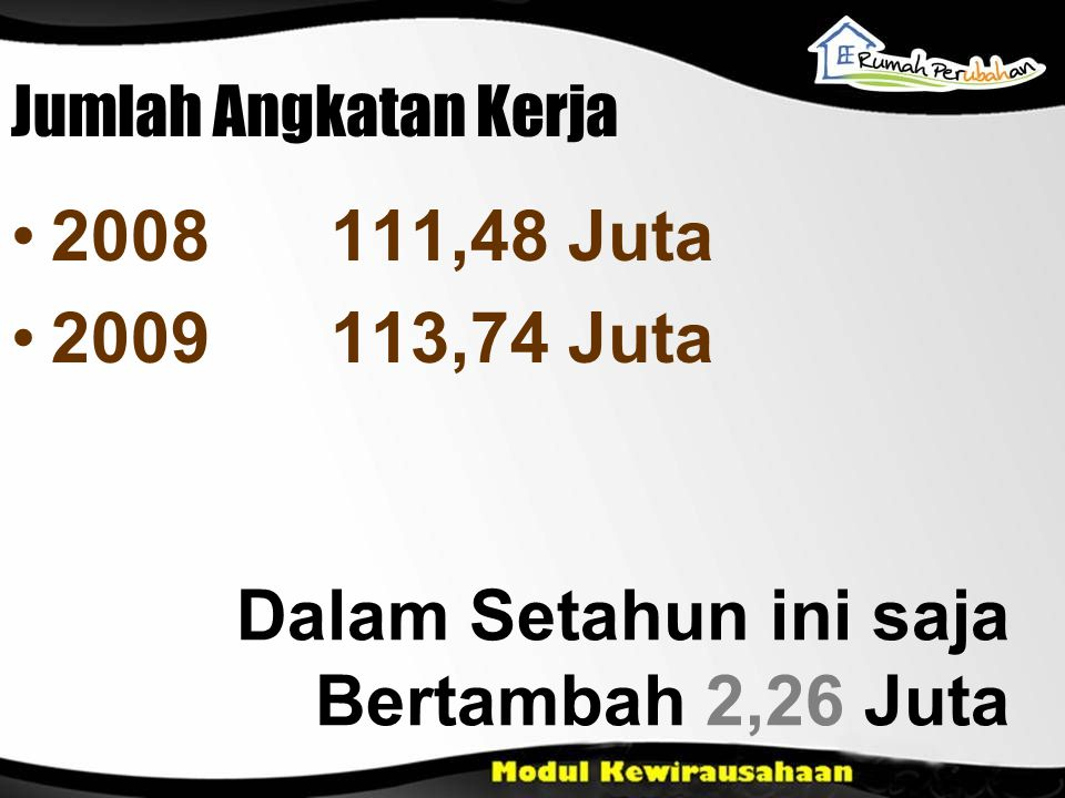 Jumlah Angkatan Kerja 2008111,48 Juta 2009113,74 Juta Dalam Setahun ini saja Bertambah 2,26 Juta