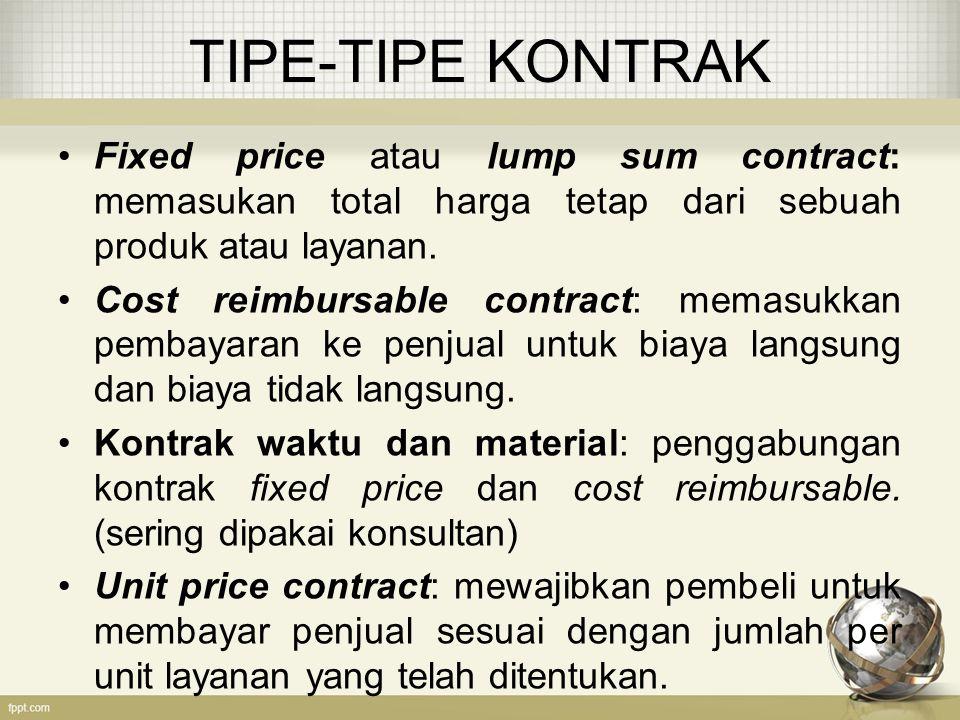 TIPE-TIPE KONTRAK Fixed price atau lump sum contract: memasukan total harga tetap dari sebuah produk atau layanan. Cost reimbursable contract: memasuk