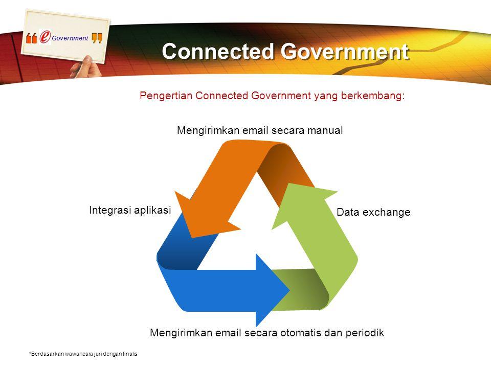 Government Connected Government Integrasi aplikasi Data exchange Mengirimkan email secara manual Mengirimkan email secara otomatis dan periodik *Berdasarkan wawancara juri dengan finalis Pengertian Connected Government yang berkembang: