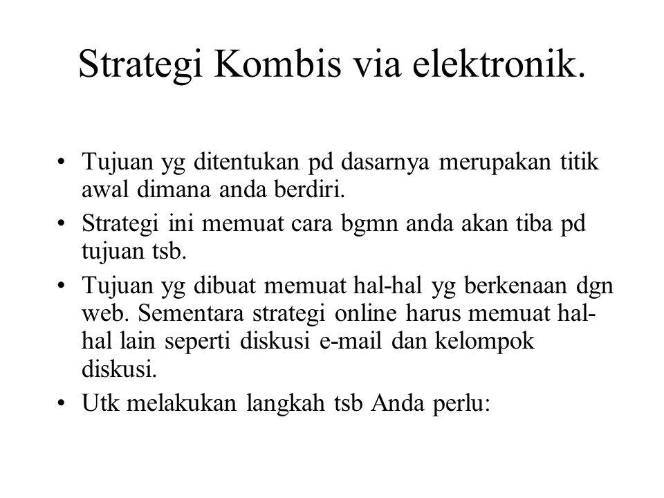 Strategi Kombis via elektronik. Tujuan yg ditentukan pd dasarnya merupakan titik awal dimana anda berdiri. Strategi ini memuat cara bgmn anda akan tib