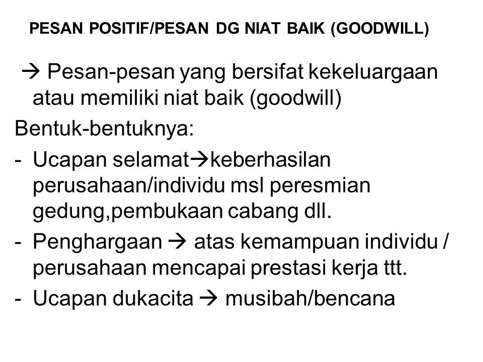 PESAN POSITIF/PESAN DG NIAT BAIK (GOODWILL)  Pesan-pesan yang bersifat kekeluargaan atau memiliki niat baik (goodwill) Bentuk-bentuknya: -Ucapan sela