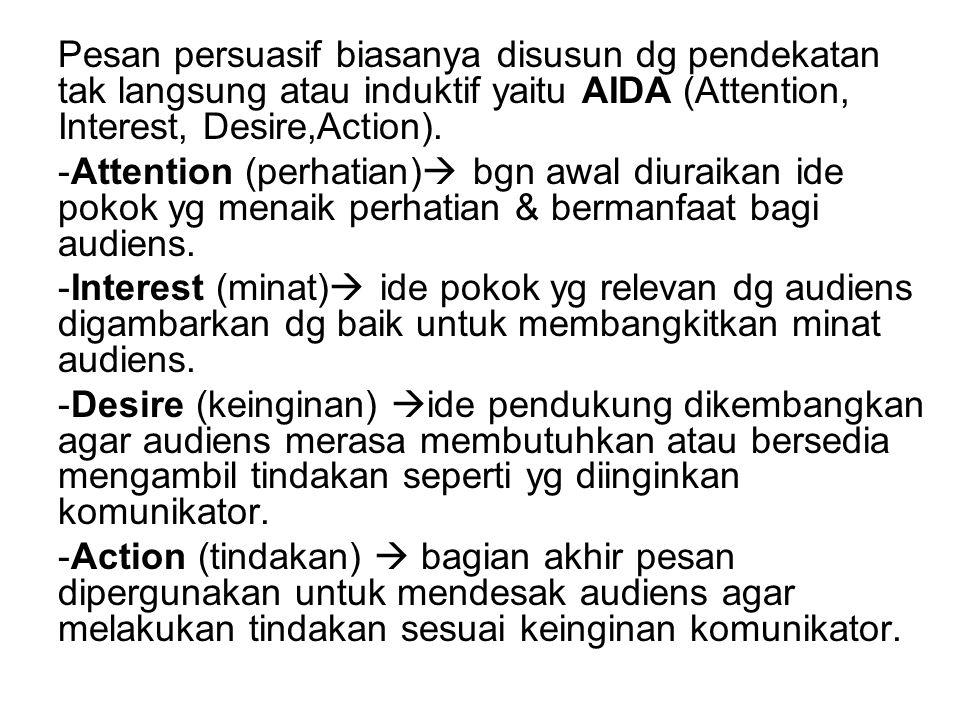 Pesan persuasif biasanya disusun dg pendekatan tak langsung atau induktif yaitu AIDA (Attention, Interest, Desire,Action). -Attention (perhatian)  bg