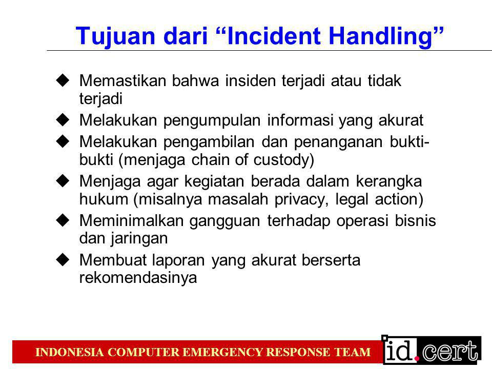 INDONESIA COMPUTER EMERGENCY RESPONSE TEAM Metodologi  From Kevin Mandia & Chris Prosise Incident Response Pre-incident preparation Detection of incidents Initial response Response strategy formulation Duplication (forensic backups) Investigation Security measure implementation Network monitoring Recovery Follow-up