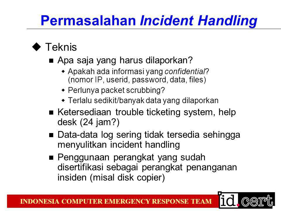 INDONESIA COMPUTER EMERGENCY RESPONSE TEAM Permasalahan Incident Handling  Teknis Apa saja yang harus dilaporkan?  Apakah ada informasi yang confide