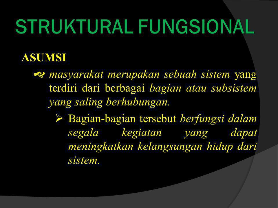 STRUKTURAL FUNGSIONAL ASUMSI  masyarakat merupakan sebuah sistem yang terdiri dari berbagai bagian atau subsistem yang saling berhubungan.
