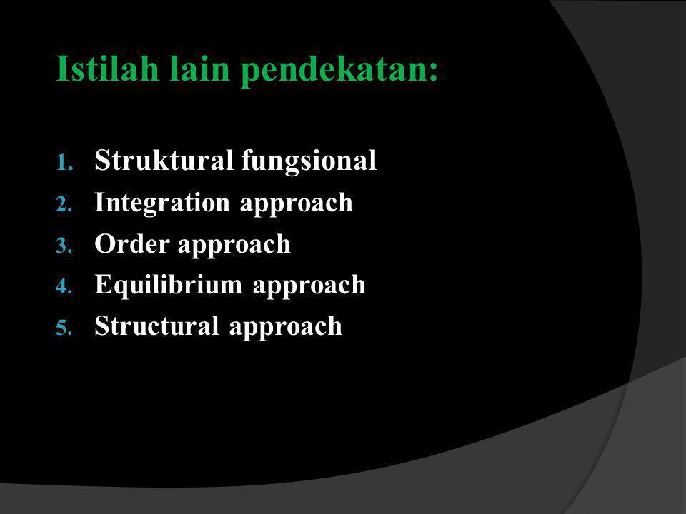 Istilah lain pendekatan: 1.Struktural fungsional 2.