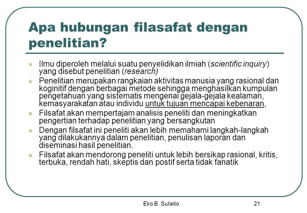 Eko B. Sulistio 21 Apa hubungan filasafat dengan penelitian? Ilmu diperoleh melalui suatu penyelidikan ilmiah (scientific inquiry) yang disebut peneli