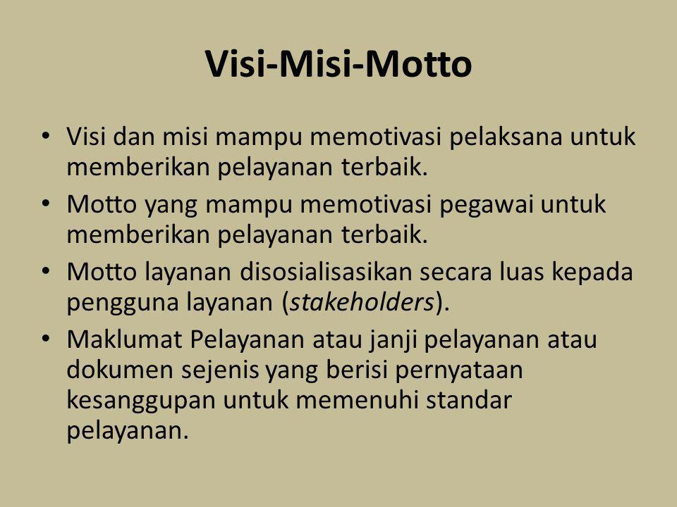 Visi-Misi-Motto Visi dan misi mampu memotivasi pelaksana untuk memberikan pelayanan terbaik. Motto yang mampu memotivasi pegawai untuk memberikan pela