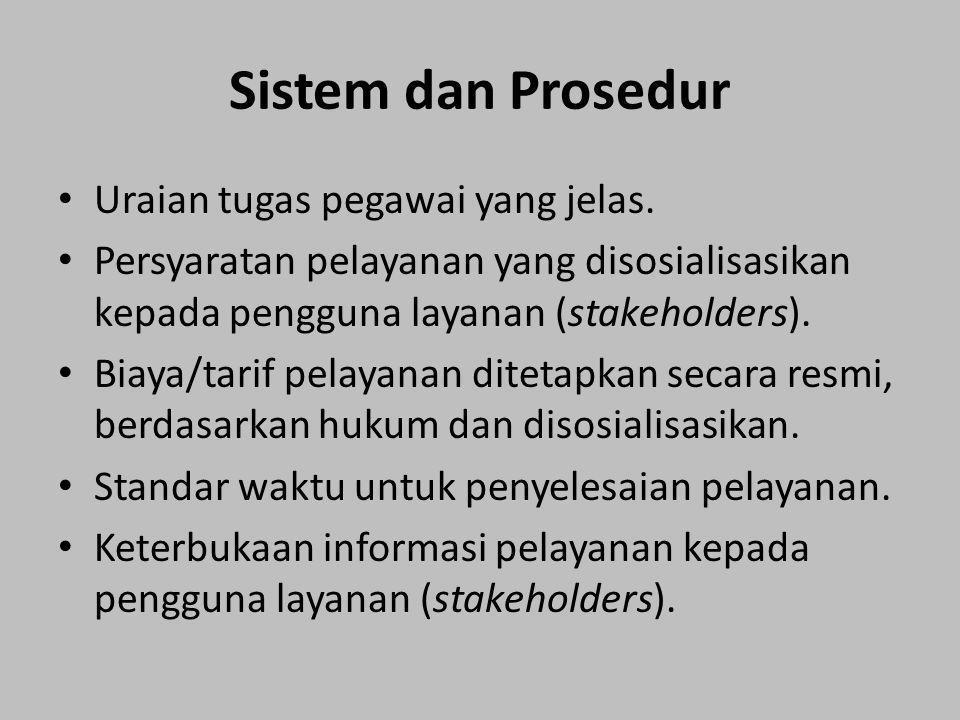 Sistem dan Prosedur Uraian tugas pegawai yang jelas. Persyaratan pelayanan yang disosialisasikan kepada pengguna layanan (stakeholders). Biaya/tarif p