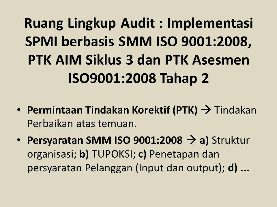 Ruang Lingkup Audit : Implementasi SPMI berbasis SMM ISO 9001:2008, PTK AIM Siklus 3 dan PTK Asesmen ISO9001:2008 Tahap 2 Permintaan Tindakan Korektif