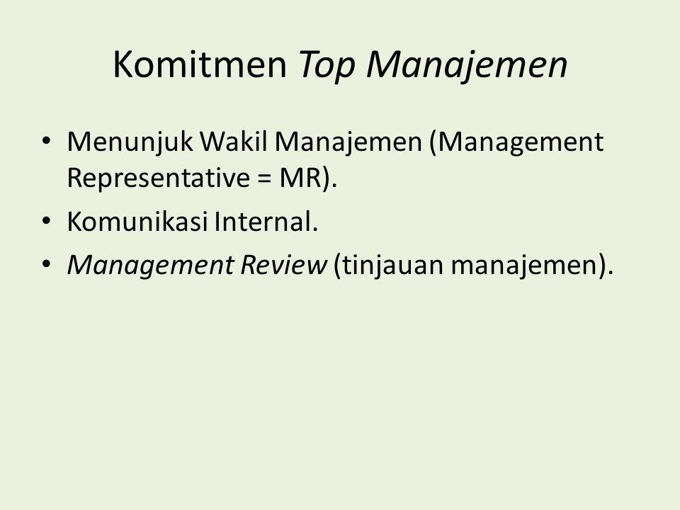 Komitmen Top Manajemen Menunjuk Wakil Manajemen (Management Representative = MR). Komunikasi Internal. Management Review (tinjauan manajemen).