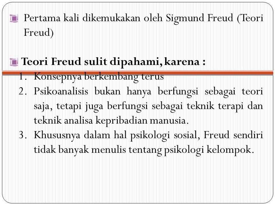 Pertama kali dikemukakan oleh Sigmund Freud (Teori Freud) Teori Freud sulit dipahami, karena : 1.Konsepnya berkembang terus 2.Psikoanalisis bukan hany