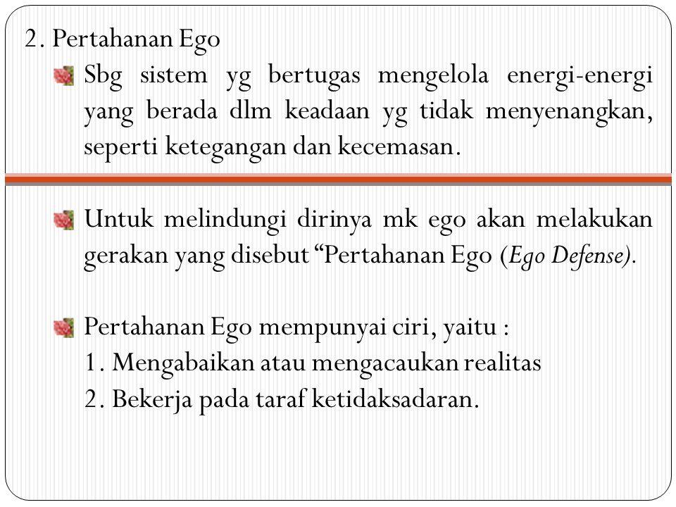 2. Pertahanan Ego Sbg sistem yg bertugas mengelola energi-energi yang berada dlm keadaan yg tidak menyenangkan, seperti ketegangan dan kecemasan. Untu