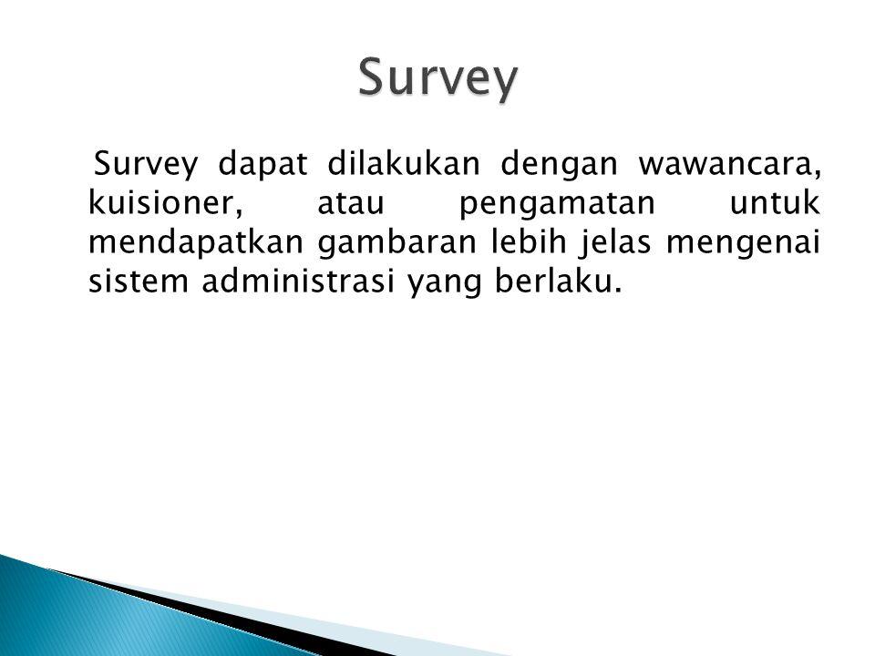 Survey dapat dilakukan dengan wawancara, kuisioner, atau pengamatan untuk mendapatkan gambaran lebih jelas mengenai sistem administrasi yang berlaku.