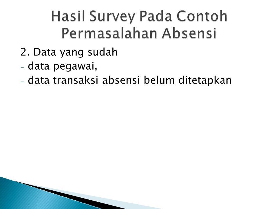 2. Data yang sudah - data pegawai, - data transaksi absensi belum ditetapkan