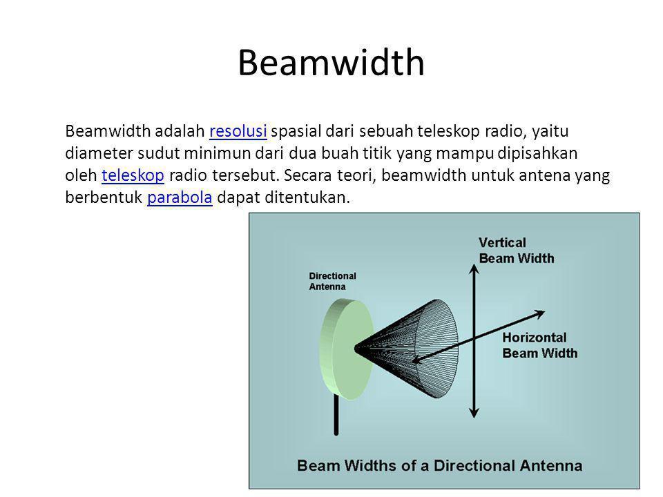 Beamwidth Beamwidth adalah resolusi spasial dari sebuah teleskop radio, yaitu diameter sudut minimun dari dua buah titik yang mampu dipisahkan oleh te