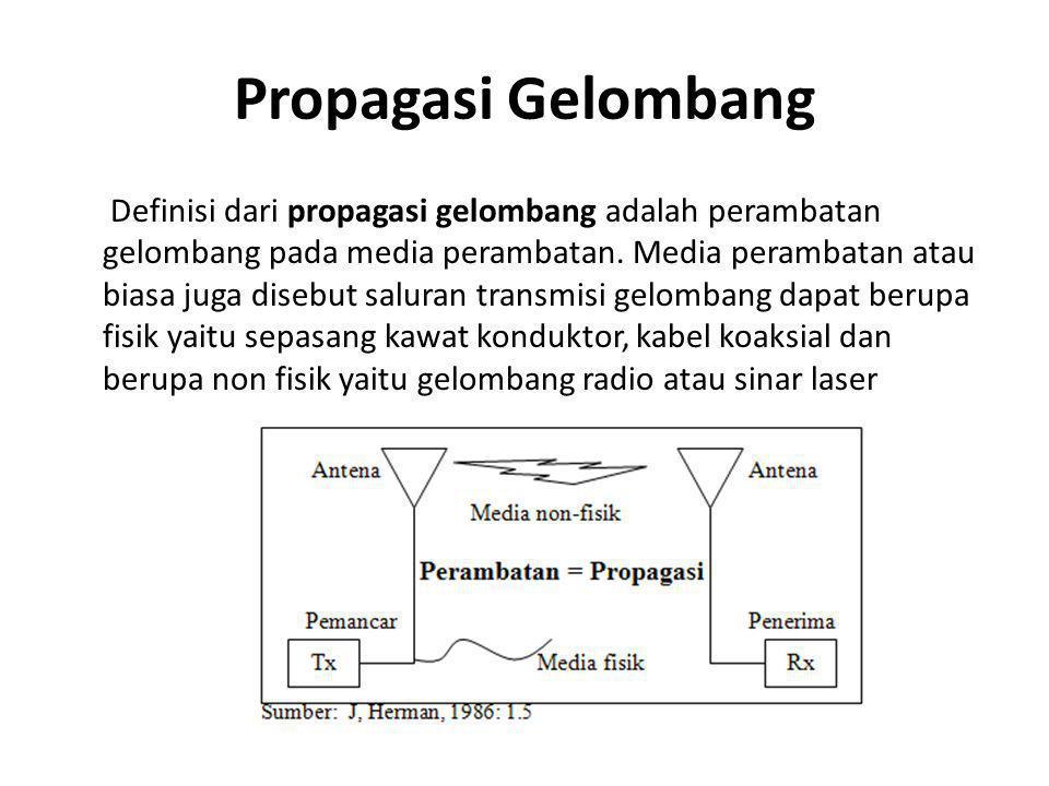 Propagasi Gelombang Definisi dari propagasi gelombang adalah perambatan gelombang pada media perambatan. Media perambatan atau biasa juga disebut salu