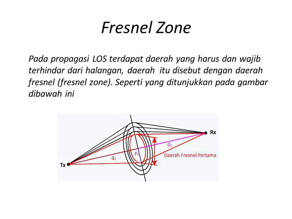 Fresnel Zone Pada propagasi LOS terdapat daerah yang harus dan wajib terhindar dari halangan, daerah itu disebut dengan daerah fresnel (fresnel zone).