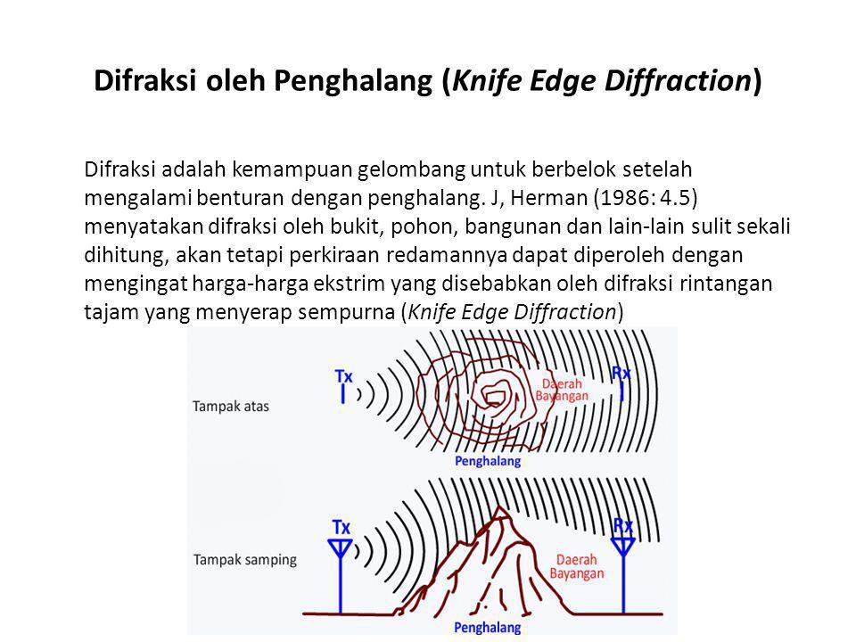 Difraksi oleh Penghalang (Knife Edge Diffraction) Difraksi adalah kemampuan gelombang untuk berbelok setelah mengalami benturan dengan penghalang. J,