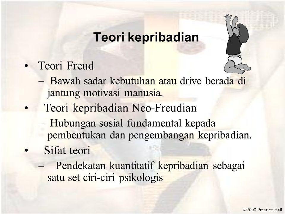 ©2000 Prentice Hall Teori kepribadian Teori Freud – Bawah sadar kebutuhan atau drive berada di jantung motivasi manusia. Teori kepribadian Neo-Freudia