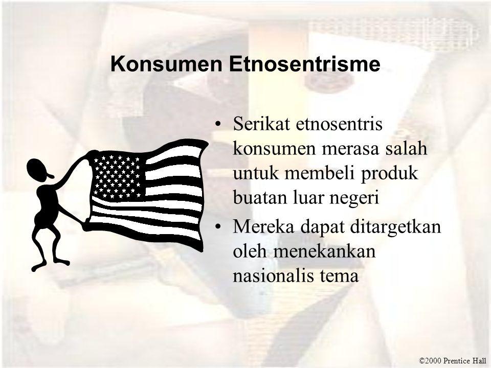 ©2000 Prentice Hall Konsumen Etnosentrisme Serikat etnosentris konsumen merasa salah untuk membeli produk buatan luar negeri Mereka dapat ditargetkan