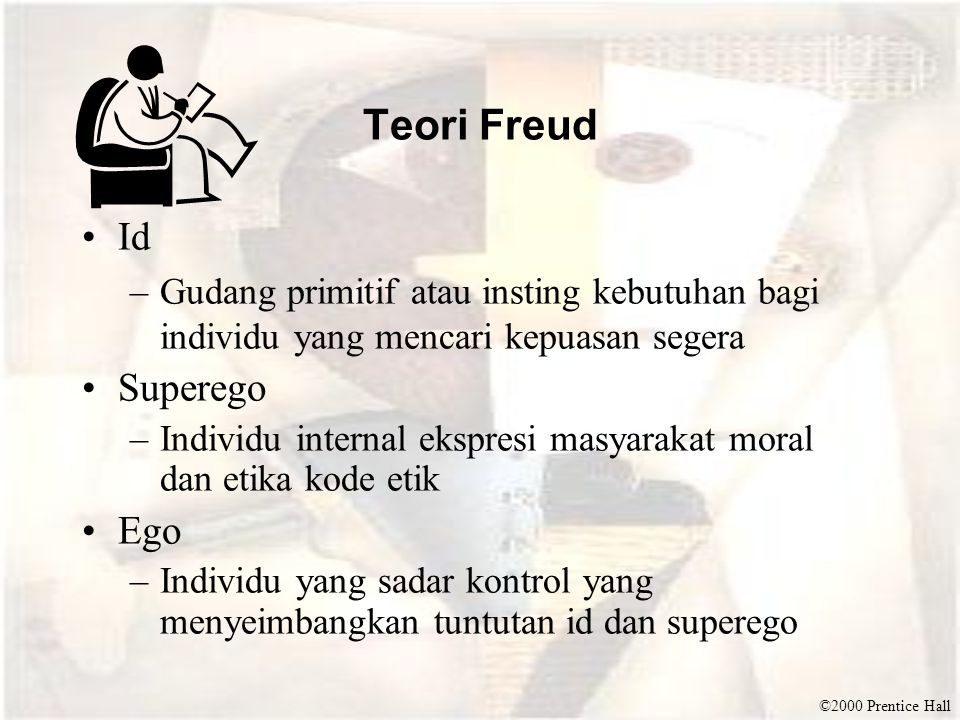 ©2000 Prentice Hall Teori Freud Id –Gudang primitif atau insting kebutuhan bagi individu yang mencari kepuasan segera Superego –Individu internal eksp