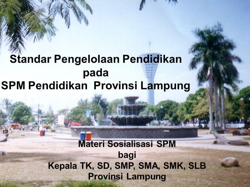 Standar Pengelolaan Pendidikan pada SPM Pendidikan Provinsi Lampung Materi Sosialisasi SPM bagi Kepala TK, SD, SMP, SMA, SMK, SLB Provinsi Lampung 1