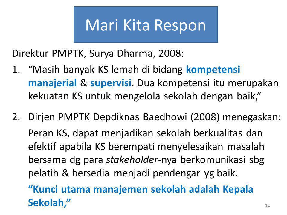 """Mari Kita Respon Direktur PMPTK, Surya Dharma, 2008: 1.""""Masih banyak KS lemah di bidang kompetensi manajerial & supervisi. Dua kompetensi itu merupaka"""