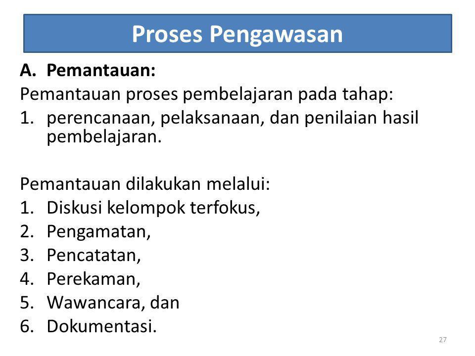 Proses Pengawasan A.Pemantauan: Pemantauan proses pembelajaran pada tahap: 1.perencanaan, pelaksanaan, dan penilaian hasil pembelajaran. Pemantauan di