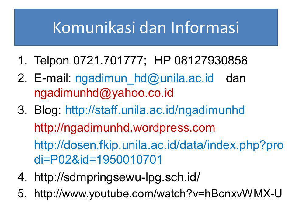 Komunikasi dan Informasi 1.Telpon 0721.701777; HP 08127930858 2.E-mail: ngadimun_hd@unila.ac.id dan ngadimunhd@yahoo.co.id 3.Blog: http://staff.unila.