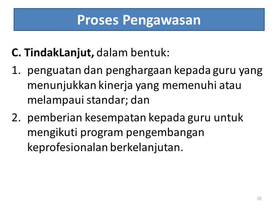 Proses Pengawasan C. TindakLanjut, dalam bentuk: 1.penguatan dan penghargaan kepada guru yang menunjukkan kinerja yang memenuhi atau melampaui standar