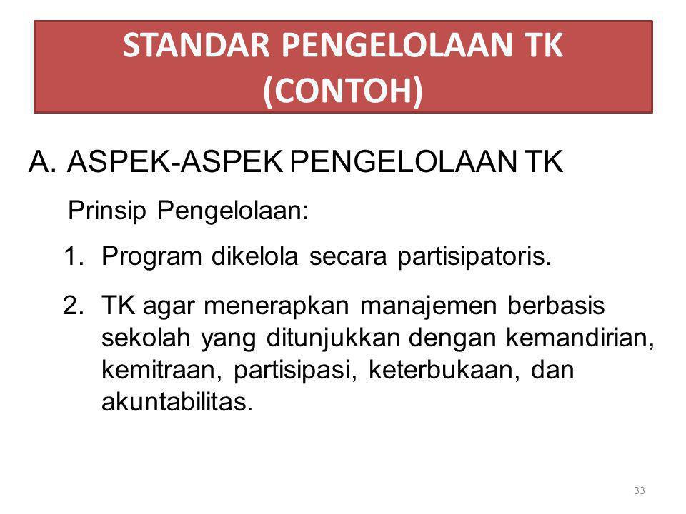 STANDAR PENGELOLAAN TK (CONTOH) A.ASPEK-ASPEK PENGELOLAAN TK Prinsip Pengelolaan: 1.Program dikelola secara partisipatoris. 2.TK agar menerapkan manaj