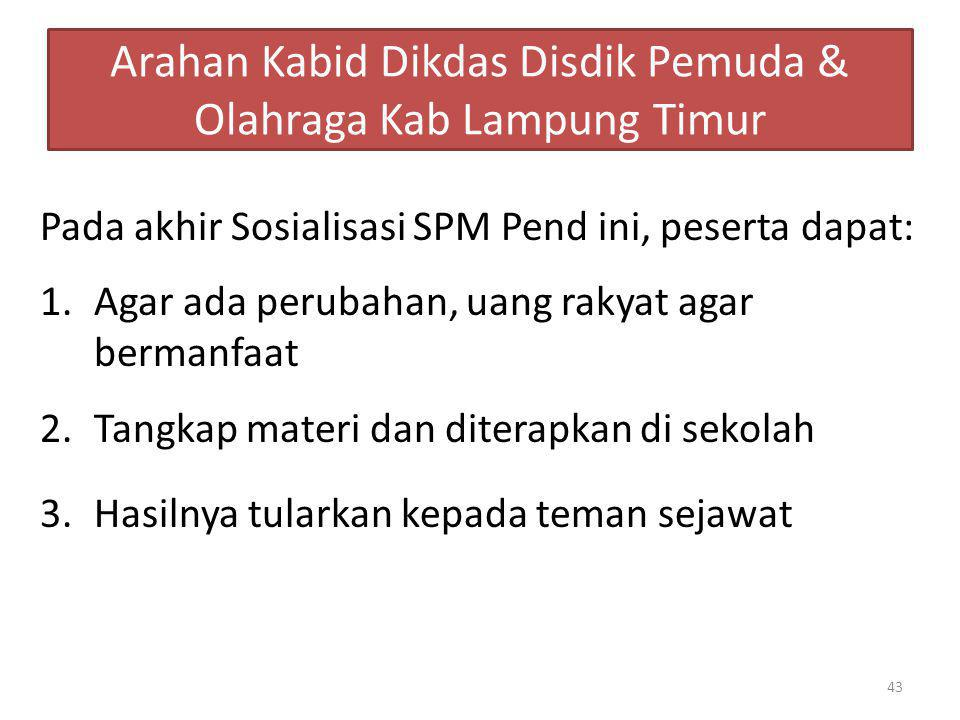 Arahan Kabid Dikdas Disdik Pemuda & Olahraga Kab Lampung Timur Pada akhir Sosialisasi SPM Pend ini, peserta dapat: 1.Agar ada perubahan, uang rakyat a