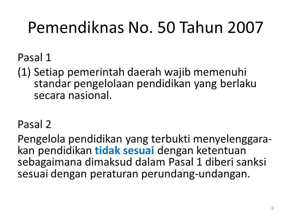 Pemendiknas No. 50 Tahun 2007 Pasal 1 (1)Setiap pemerintah daerah wajib memenuhi standar pengelolaan pendidikan yang berlaku secara nasional. Pasal 2