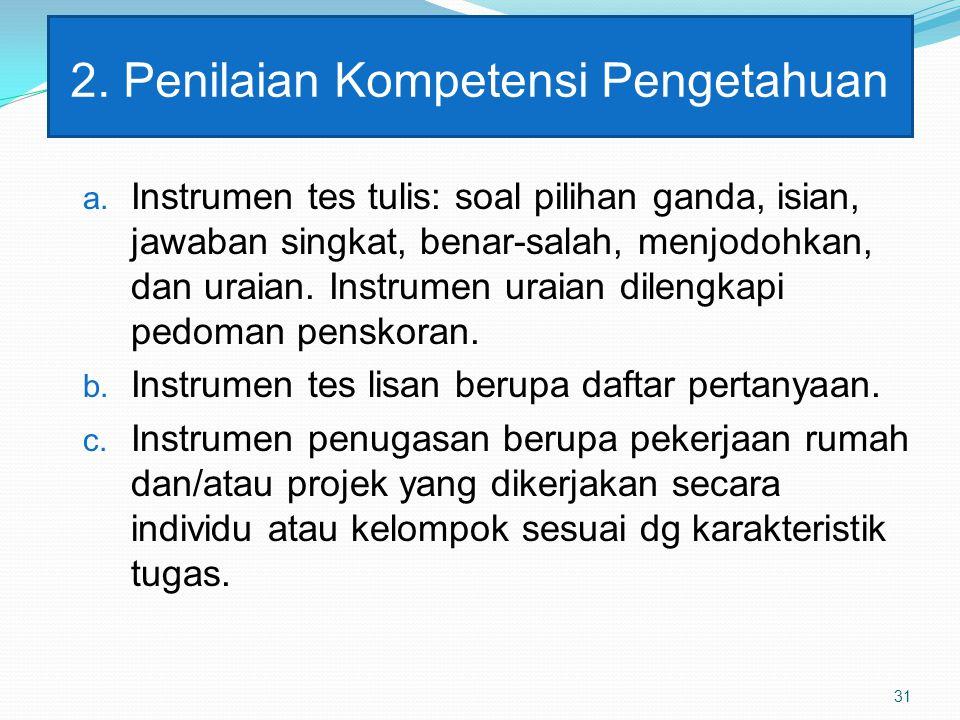 2.Penilaian Kompetensi Pengetahuan a.