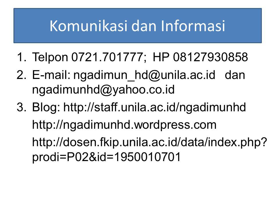 Komunikasi dan Informasi 1.Telpon 0721.701777; HP 08127930858 2.E-mail: ngadimun_hd@unila.ac.id dan ngadimunhd@yahoo.co.id 3.Blog: http://staff.unila.ac.id/ngadimunhd http://ngadimunhd.wordpress.com http://dosen.fkip.unila.ac.id/data/index.php.