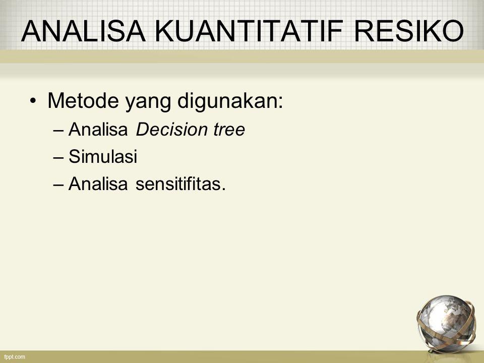 ANALISA KUANTITATIF RESIKO Metode yang digunakan: –Analisa Decision tree –Simulasi –Analisa sensitifitas.