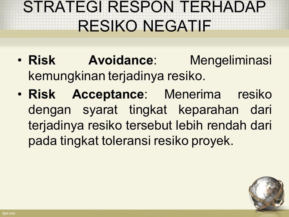 STRATEGI RESPON TERHADAP RESIKO NEGATIF Risk Avoidance: Mengeliminasi kemungkinan terjadinya resiko.
