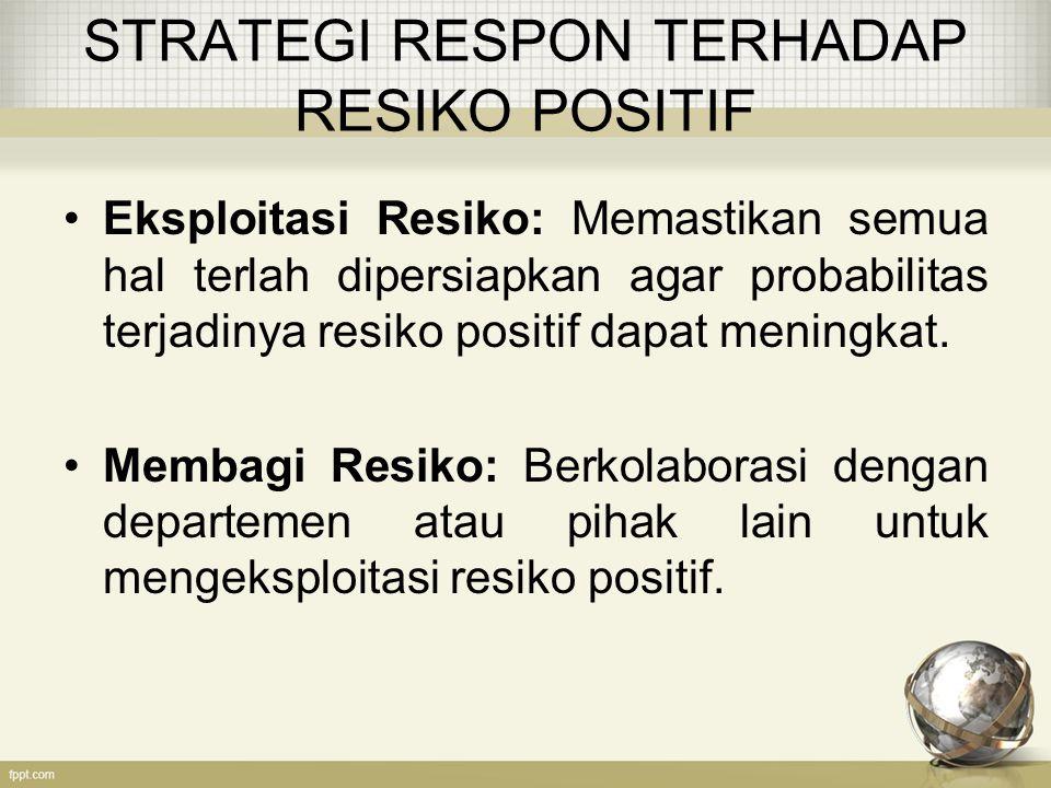 STRATEGI RESPON TERHADAP RESIKO POSITIF Eksploitasi Resiko: Memastikan semua hal terlah dipersiapkan agar probabilitas terjadinya resiko positif dapat meningkat.