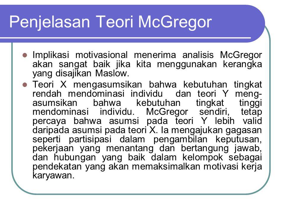 Penjelasan Teori McGregor Implikasi motivasional menerima analisis McGregor akan sangat baik jika kita menggunakan kerangka yang disajikan Maslow. Teo