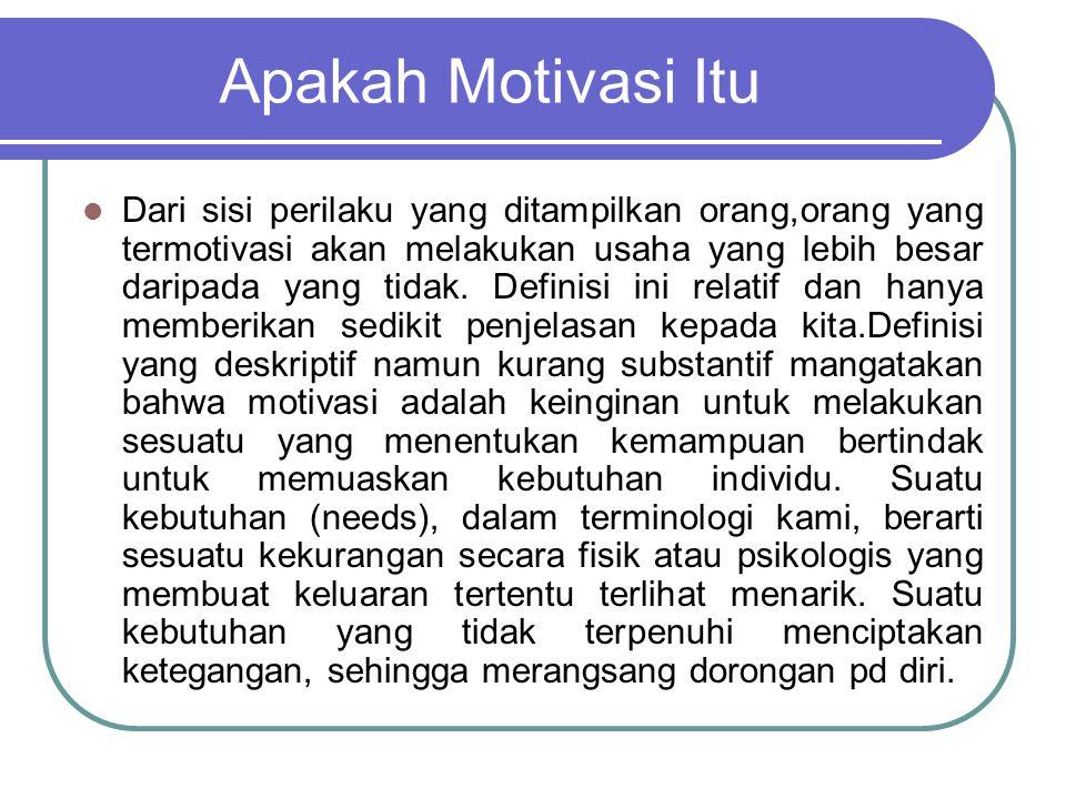 Apakah Motivasi Itu Dari sisi perilaku yang ditampilkan orang,orang yang termotivasi akan melakukan usaha yang lebih besar daripada yang tidak. Defini
