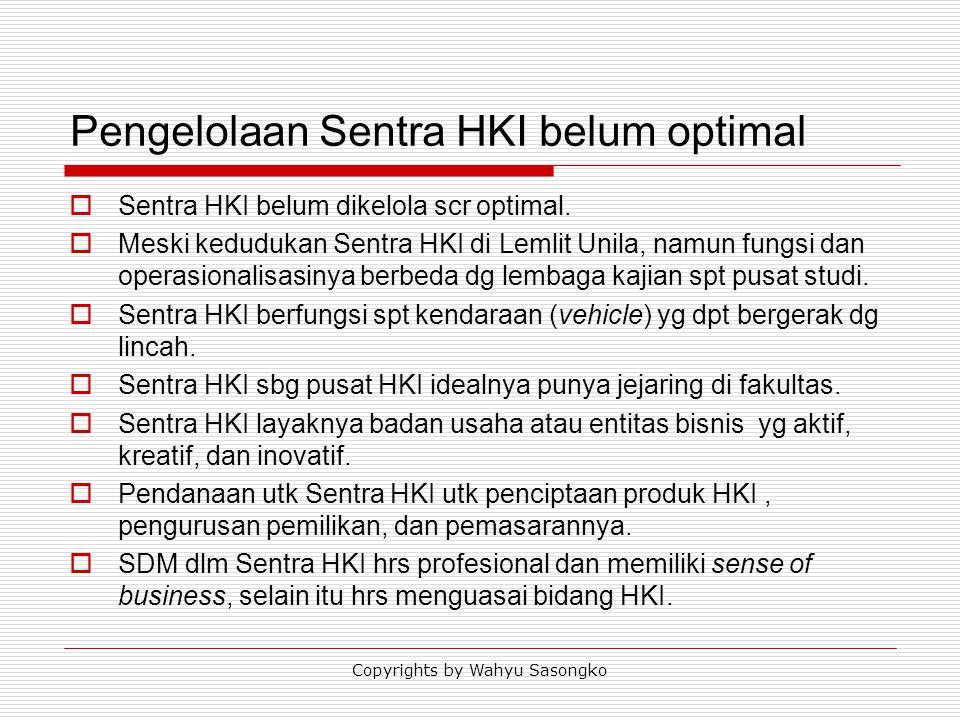 Pengelolaan Sentra HKI belum optimal  Sentra HKI belum dikelola scr optimal.  Meski kedudukan Sentra HKI di Lemlit Unila, namun fungsi dan operasion