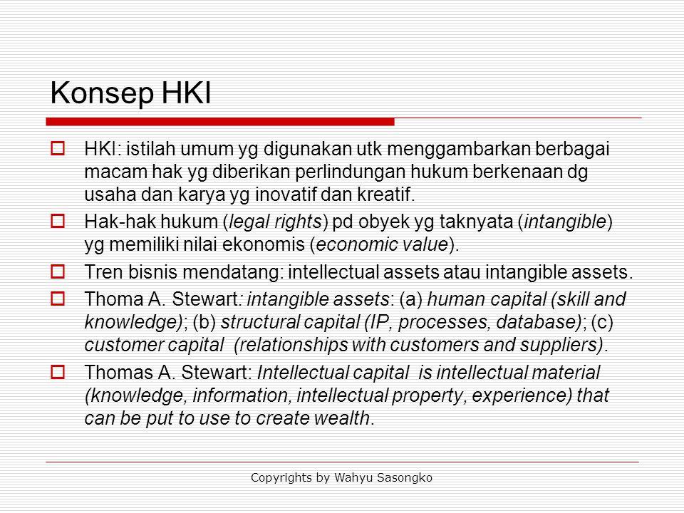 Konsep HKI  HKI: istilah umum yg digunakan utk menggambarkan berbagai macam hak yg diberikan perlindungan hukum berkenaan dg usaha dan karya yg inova