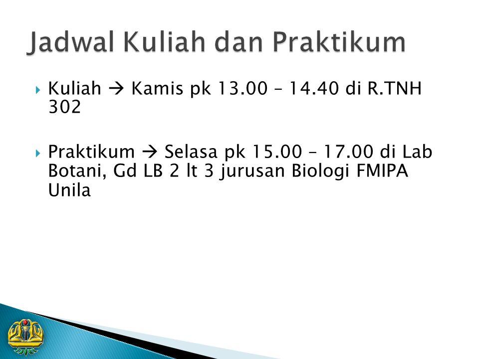  Kuliah  Kamis pk 13.00 – 14.40 di R.TNH 302  Praktikum  Selasa pk 15.00 – 17.00 di Lab Botani, Gd LB 2 lt 3 jurusan Biologi FMIPA Unila