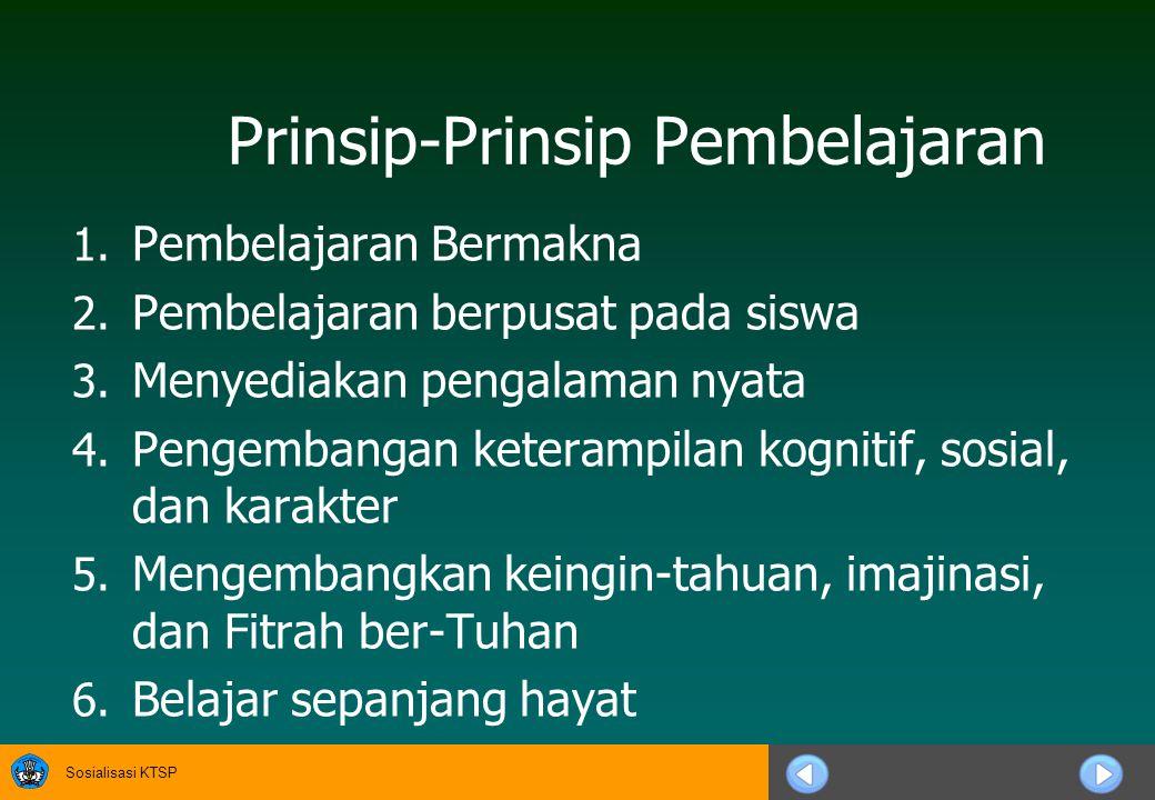 Sosialisasi KTSP Prinsip-Prinsip Pembelajaran 1.Pembelajaran Bermakna 2.