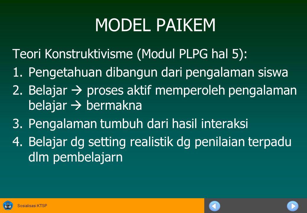 Sosialisasi KTSP MODEL PAIKEM Teori Konstruktivisme (Modul PLPG hal 5): 1.Pengetahuan dibangun dari pengalaman siswa 2.Belajar  proses aktif memperoleh pengalaman belajar  bermakna 3.Pengalaman tumbuh dari hasil interaksi 4.Belajar dg setting realistik dg penilaian terpadu dlm pembelajarn
