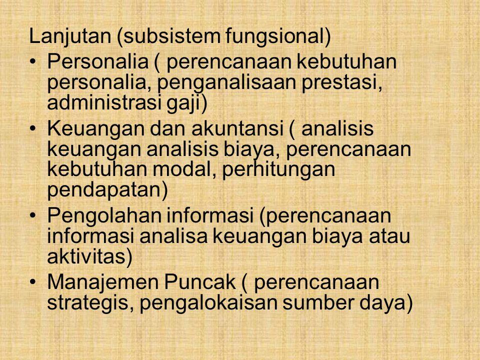 Lanjutan (subsistem fungsional) Personalia ( perencanaan kebutuhan personalia, penganalisaan prestasi, administrasi gaji) Keuangan dan akuntansi ( ana