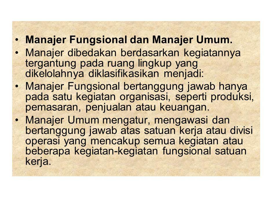 Manajer Fungsional dan Manajer Umum. Manajer dibedakan berdasarkan kegiatannya tergantung pada ruang lingkup yang dikelolahnya diklasifikasikan menjad