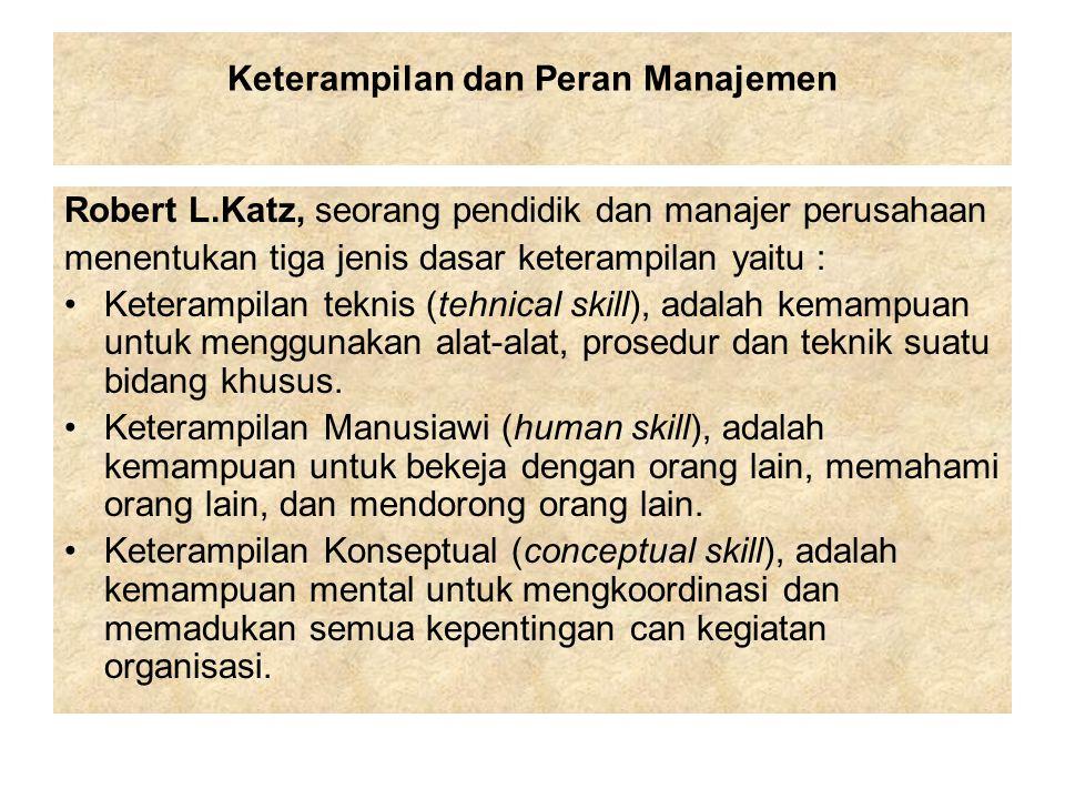Katz berpendapat, walaupun ketiga keterampilan ini penting untuk manajer yang efektif, pentingnya setiap keterampilan tersebut untuk manajer tertentu tergantung pada tingkatannya dalam suatu organisasi.