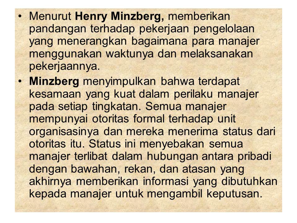 Menurut Henry Minzberg, memberikan pandangan terhadap pekerjaan pengelolaan yang menerangkan bagaimana para manajer menggunakan waktunya dan melaksana